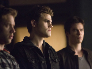 Shaun Sipos as Aaron, Paul Wesley as Stefan and Ian Somerhalder as Damon in The Vampire Diaries: 'Fifty Shades of Grayson'