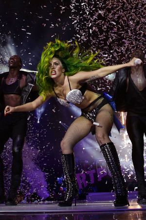 Lady Gaga performing on stage during the 2013 Capital FM Jingle Bell Ball