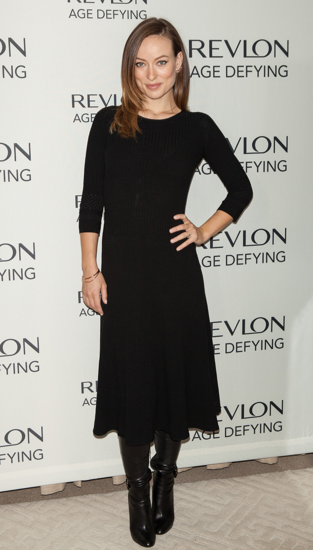 Revlon brand ambassador Olivia Wilde attends launchCaption: 	Revlon brand ambassador Olivia Wilde, along with Dermatologist Dr. Elizabeth Hale, launch the new Revlon Age Defying