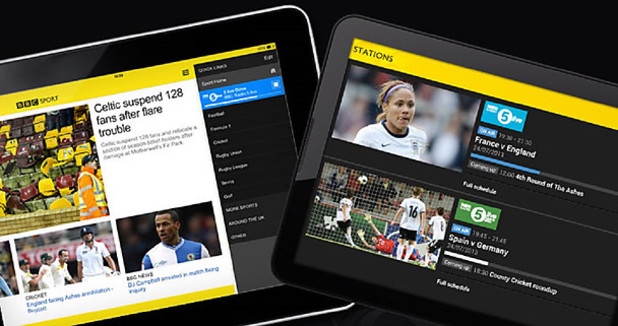 The BBC Sport app running on tablets