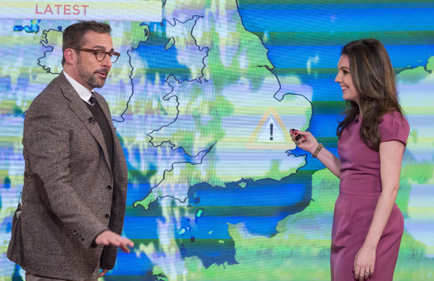 Steve Carell hijacks the Daybreak weather with Laura Tobin, December 11, 2013