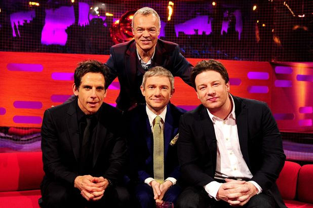 Graham Norton with guests Ben Stiller, Martin Freeman and Jamie Oliver on The Graham Norton Show