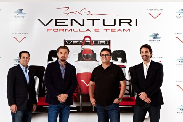 Leonardo DiCaprio and his Venturi Grand Prix team