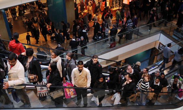Christmas shoppers in Westfield shopping centre, London