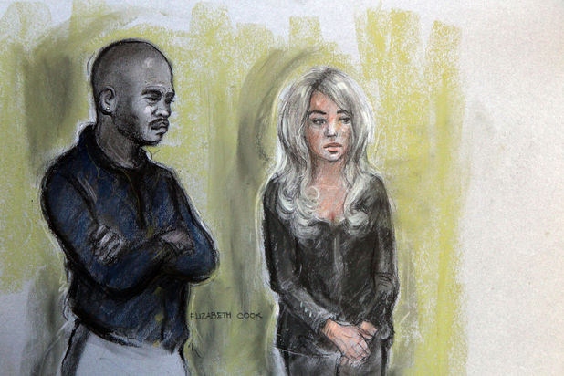 Tulisa Contostavlos and Michael Coombs shown in a court artist's sketch - December 19, 2013