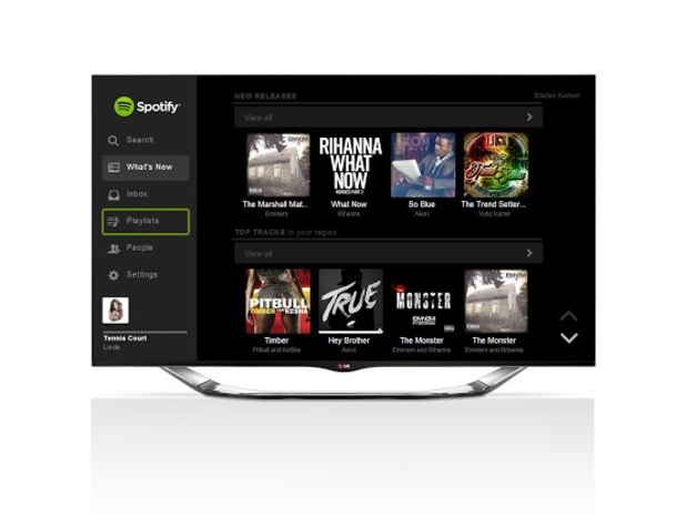Spotify running on an LG Smart TV