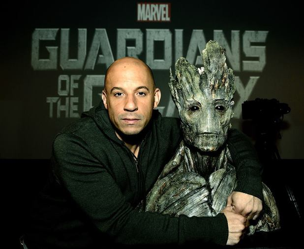 Vin Diesel with Groot bust for Guardians of the Galaxy