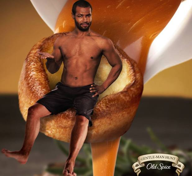 Old Spice Guy posing on a Yorkshire pud