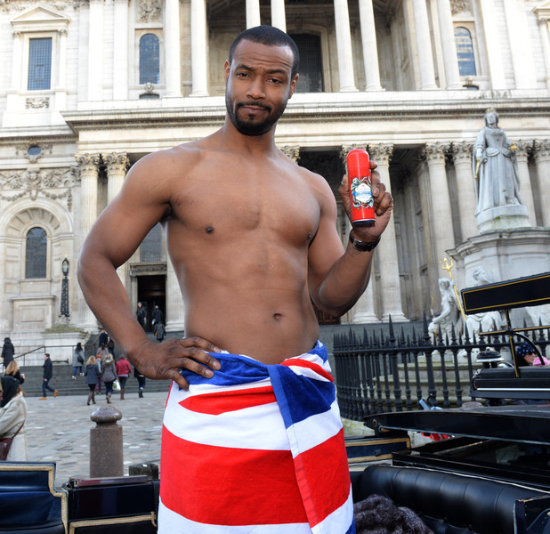 Old Spice man Isaiah Mustafa shirtless in London