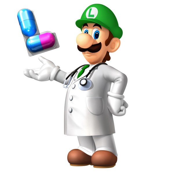 Dr. Luigi with L-shaped pills