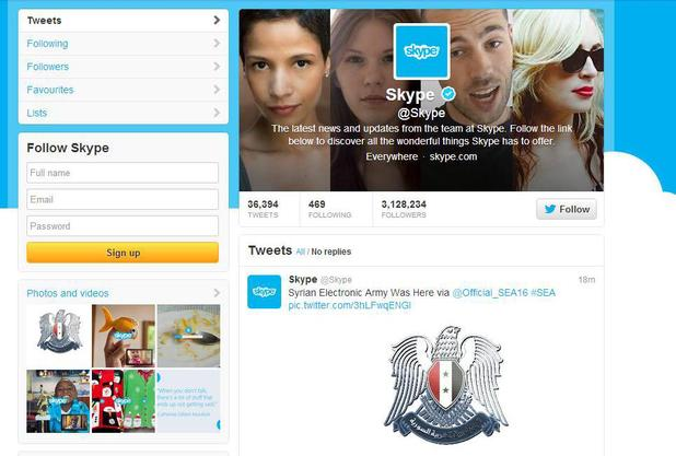 Skype's Twitter account hacked by the Syrian Electronic Army