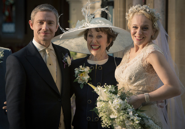 Martin Freeman as John Watson, Una Stubbs as Mrs Hudson and Amanda Abbington as Mary Morstan
