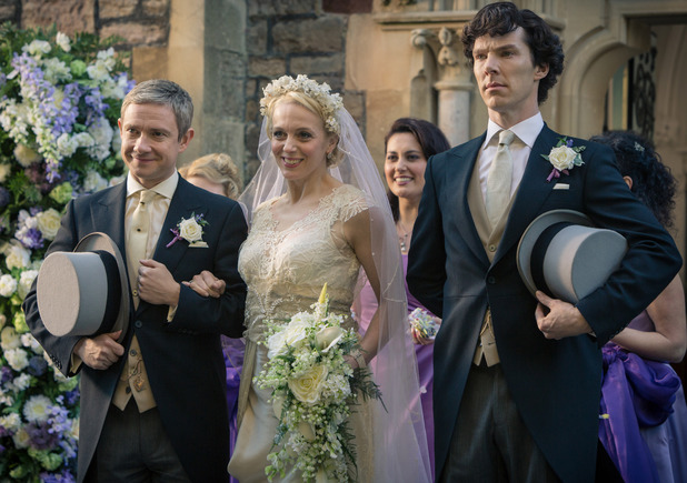 Martin Freeman as John Watson, Amanda Abbington as Mary Morstan and Benedict Cumberbatch as Sherlock Holmes