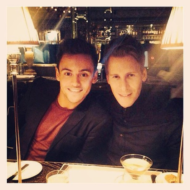 Tom Daley, Dustin Lance Black at dinner together after the return of 'Splash!' to ITV