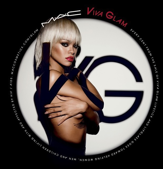 Rihanna poses topless in MAC Viva Glam ad campaign.