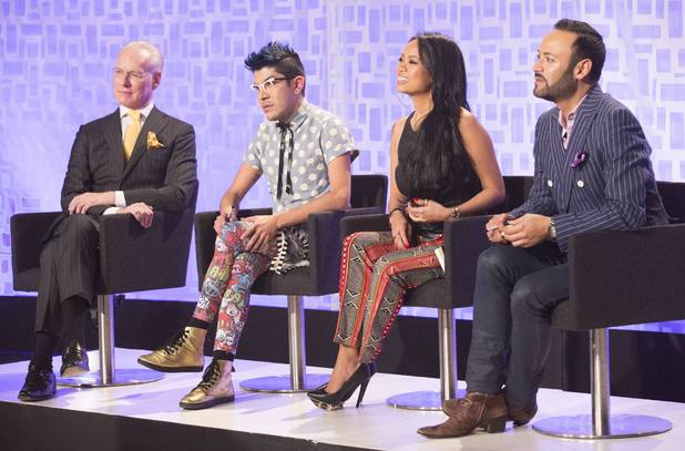 Under The Gunn host Tim Gunn with mentors Mondo Guerra, Anya Ayoung-Chee and Nick Verreos