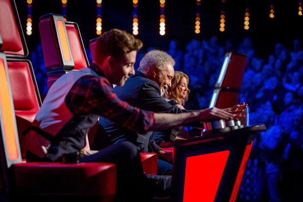 The Voice UK's coaches in action on the series three premiere