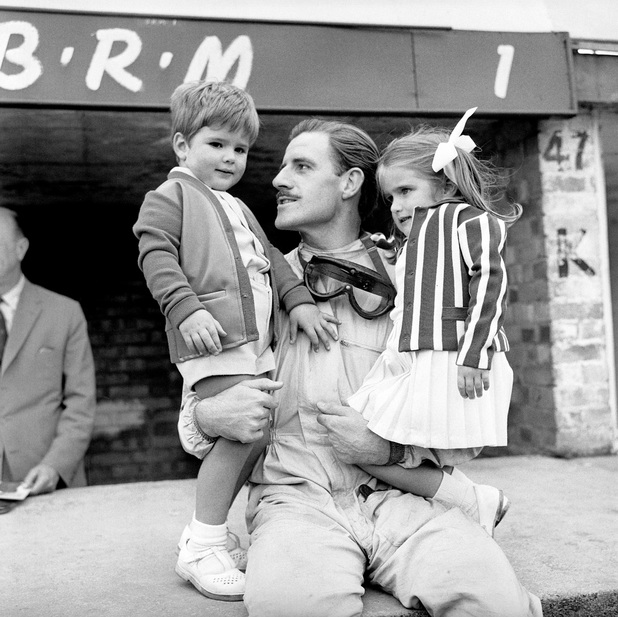 Damon Hill with his father Graham Hill and sister Brigitte at Silverstone in 1963