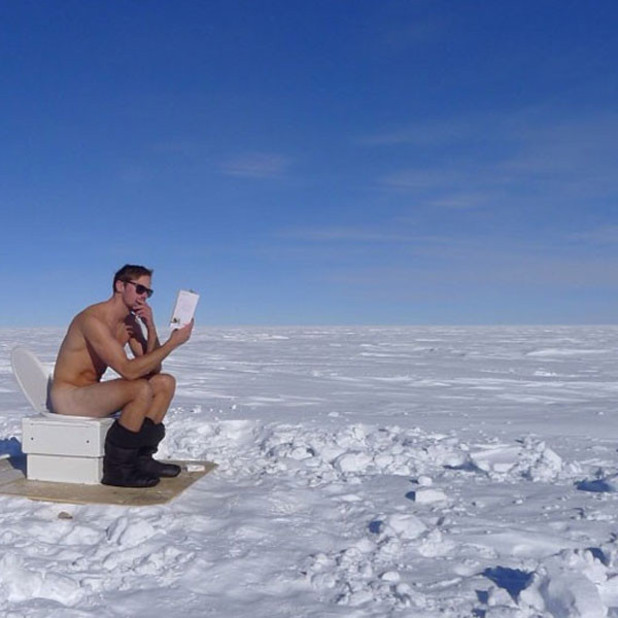 Alexander Skarsgård poses naked at the South Pole