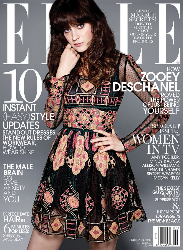 Zooey Deschanel on the cover of Elle magazine