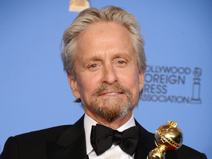 Michael Douglas with a Golden Globe award