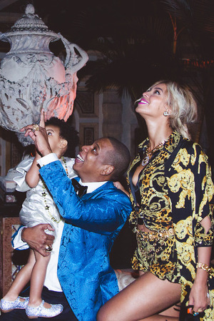 Beyoncé with Jay Z and Blue Ivy