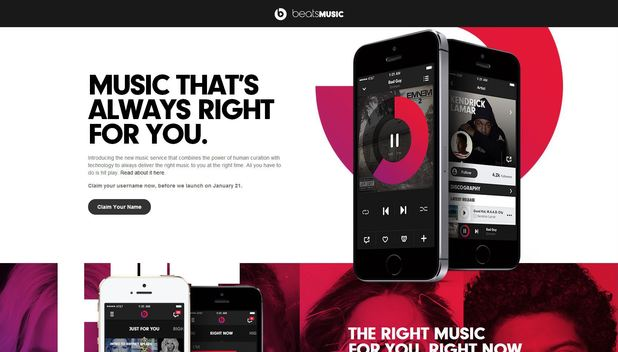 A screenshot of the Beats Music website