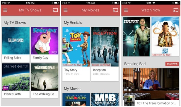 Screenshots of Google Play Moves and TV for iOS
