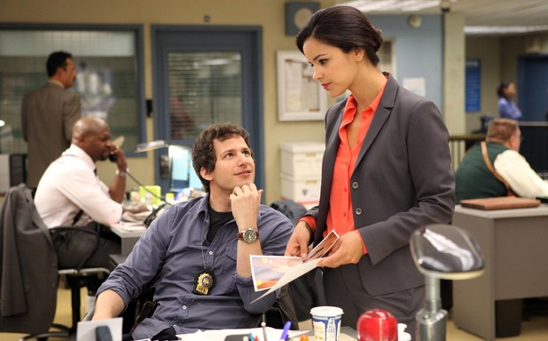 Andy Samberg as Detective Jake Peralta & Melissa Fumero as Detective Amy Santiago in Brooklyn Nine-Nine