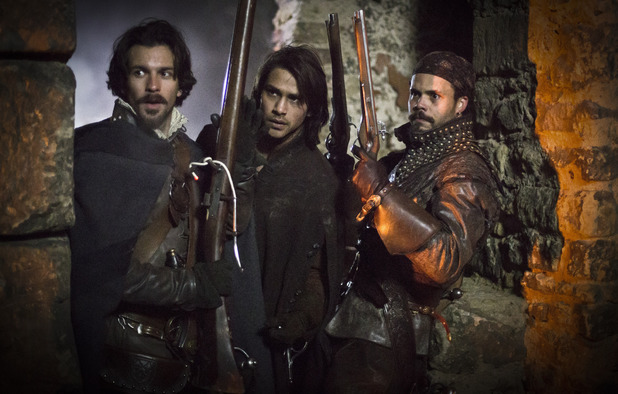 Santiage Cabrera as Aramis, Luke Pasqualino as D'Artagnan & Howard Charles as Porthos in The Musketeers episode one