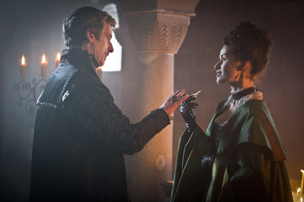 Peter Capaldi as Cardinal Richelieu & Maimie McCoy as Miladay in The Musketeers episode one
