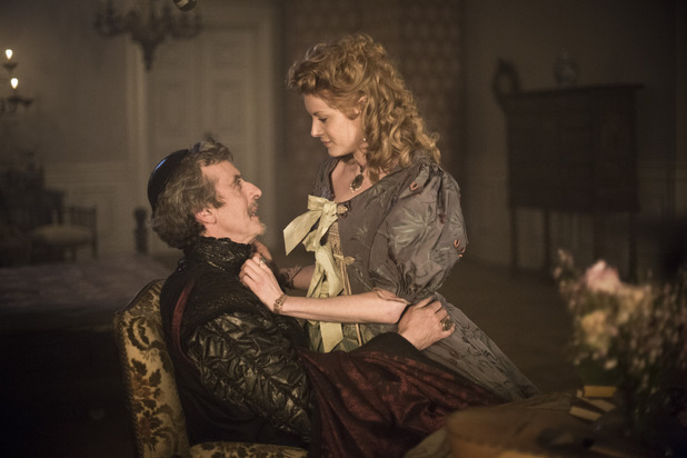 Peter Capaldi as Cardinal Richelieu & Emily Beecham as Adele Bessette in The Musketeers episode one