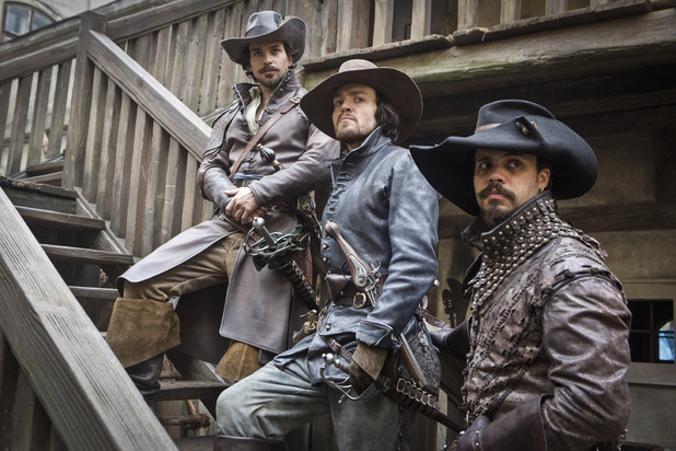 Santiago Cabrera as Aramis, Tom Burke as Athos & Howard Charlies as Porthos in The Musketeers episode one