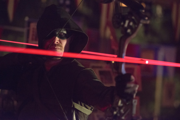 Stephen Amell as The Arrow in 'Arrow' S02E10: 'Blast Radius'