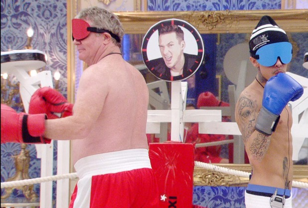 Blindfolded boxing task with Jim Davidson and Dappy