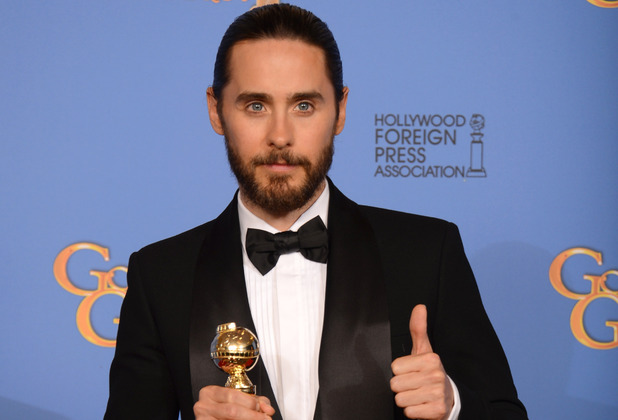 Jared Leto with a Golden Globe award