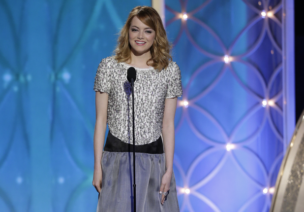 Emma Stone speaks onstage at the Golden Globe Awards
