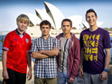 Foursome pose outside the Sydney Opera House as filming moves to the UK.