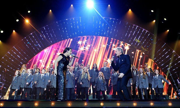 Sam Bailey and Michael Bolton perform on stage during the 2014 National Television Awards at the O2 Arena, London