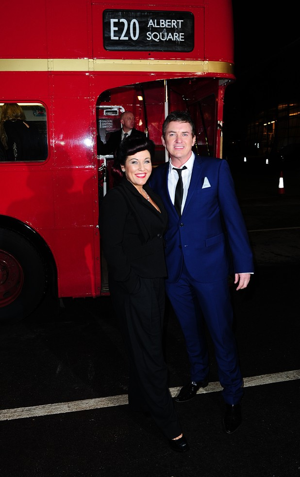 Jessie Wallace and Shane Richie arriving on a London Red Bus for the 2014 National Television Awards at the O2 Arena, London
