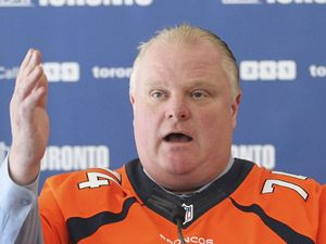Rob Ford, Mayor of Toronto press conference, Toronto, Canada - 27 Jan 2014Toronto Mayor Rob Ford wearing a Denver Broncos jersey 27 Jan 2014