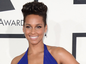 Alicia Keys arriving at the 56th annual Grammy Awards