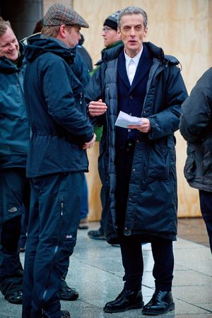 'Doctor Who' TV series filming, Cardiff, Wales, Britain - 28 Jan 2014 Peter Capaldi preparing to film 28 Jan 2014