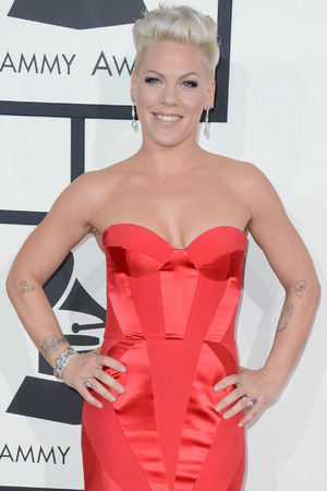 Pink arrives at the 56th annual Grammy Awards