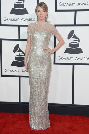 Taylor Swift arriving at the 56th annual Grammy Awards