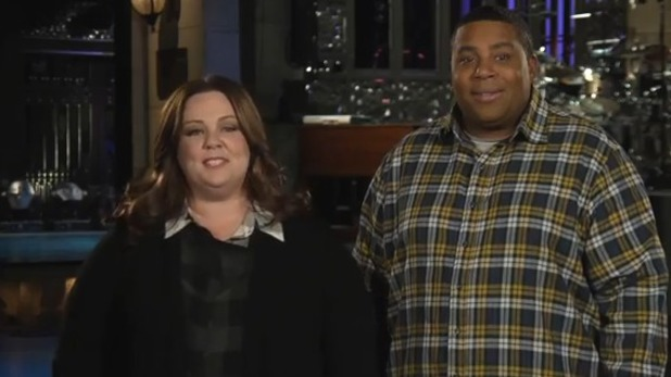 Melissa McCarthy and Kenan Thompson in SNL promo