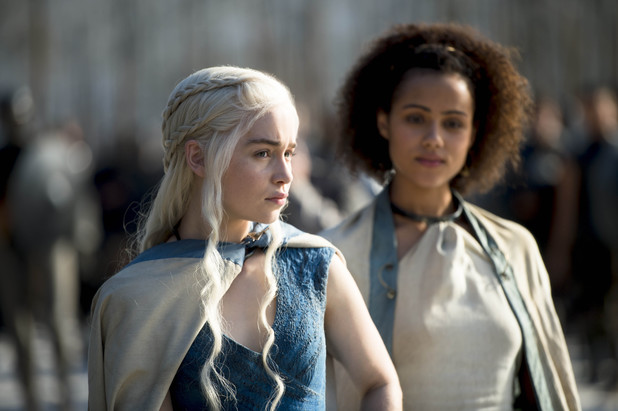 Game of Thrones season 4: first look -  Emilia Clarke and Nathalie Emmanuel as Daenerys Targaryen and Missandei