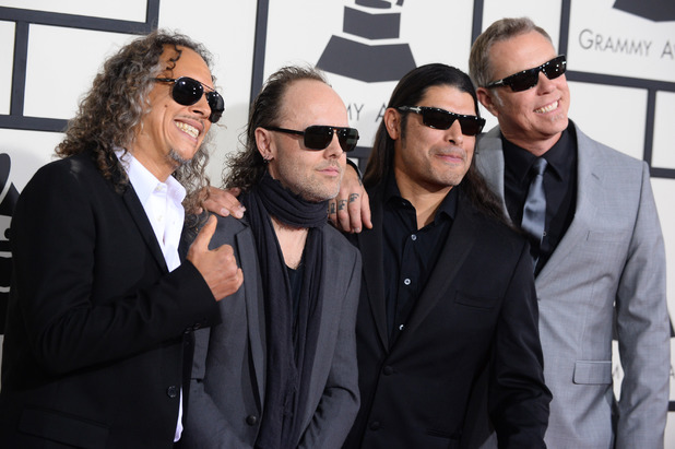 Metallica arriving at the 56th annual Grammy Awards