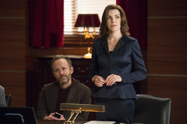 Julianna Margulies as Alicia and John Benjamin Hickey as Neil Gross in The Good Wife