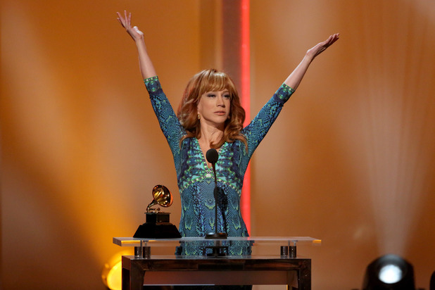 "Kathy Griffin accepts the best comedy album award for ""Calm Down Gurrl"" at the pre-telecast of the 56th annual GRAMMY Awards"